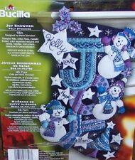 "Bucilla SNOWMEN JOY Felt Christmas Stocking Kit 18"" Factory Direct Original RARE"