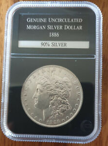 Highly Collectable Genuine Uncirculated Morgan Silver Dollar 1886- Encased PCS