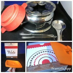 Lot of VELATA Scentsy Fondue Warmer Red & Orange Dish Top Forks Consult. Parts
