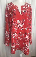 NWT AVA & VIV  Tunic Floral Red White Long Sleeve Top Size 3X