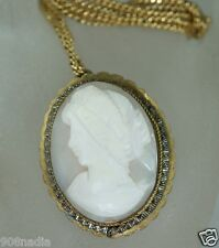 ANTIQUE VICTORIAN BROOCH/PENDANT CAMEO SHELL 800 SILVER HAND CARVED