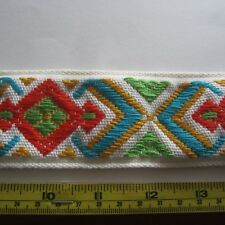 100cm Art Deco Style Cotton Jacquard Upholstery Sewing Craft Trim 1970s Vintage