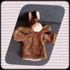 Peluche Doudou Nounours Marionnette cheval marron TBE 32cm