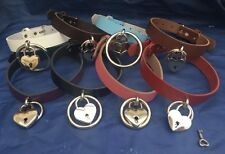 Leather O-Ring & Heart Padlock Hoop Choker Necklace Choice of Colours Handmade