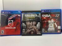 Playstation 4 Lot of 3 Games - Nba2k17, Call Of Duty WW2, Drive Club