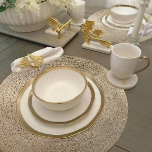 Gold Placemats & Coasters Round Vinyl Place Mat  Kitchen Dining Table Wedding