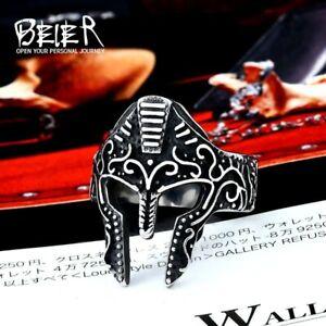 Ring For Men Spartan Helmet Greeks Gothic Punk Rock Biker Stainless Steel