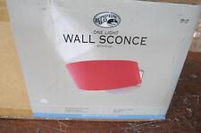 HAMPTON BAY HB988-545 SPLICE 1 LIGHT SATIN NICKEL WALL SCONCE RED GLASS SHADE