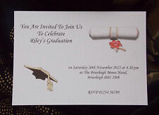 GRADUATION INVITATIONS WITH ENVELOPES PERSONALISED PACK OF 5 SCR
