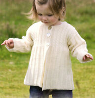 """Childrens Baby Round Neck Coat with Cables & Ribs DK 18"""" - 24""""  Knitting Pattern"""