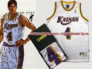 SLAM DUNK Cosplay Costume Kainan School Basketball #4 Maki Swingman Jersey WHT