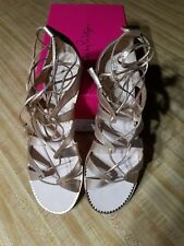 NWB Lilly Pulitzer Fit To Be Tied Sandal in Gold, sz 8.5 worn ONCE MSRP $168.0