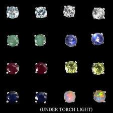 12pairs Round Amethyst Citrine Peridot Emerald Gems 925 Sterling Silver Earrings