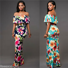 HOT Fashion Womens Off Shoulder Floral Maxi Evening Party Cocktail Long Dress