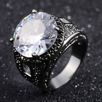 Size 7,8,9,10 Women Men Black 18K Gold Filled White Sapphire Wedding Rings Gift