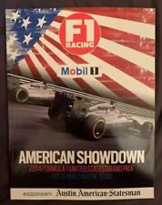 New listing Formula 1 Racing U.S. Grand Prix F1 Austin, Texas Magazine Oct 31- Nov 2, 2014