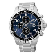 Seiko SSC305 Solar Chronograph stainless Steel Blue Dial Analog Mens Watch New