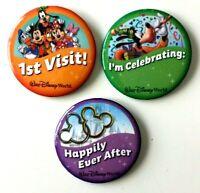 3- NEW Walt Disney World Buttons 1st Visit, Happily Ever After, I'm Celebrating