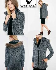 NWT $89.00  Sz S Wet Seal Fur Wool Coat Hoodie Zipper Coat Jacket Black White