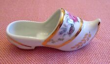Vintage Limoges France Miniature Porcelain Dutch Shoe Floral Design Gold Trim