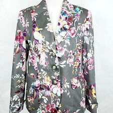 Gerry Weber Womens 8 Floral Cotton Stretch Blazer Jacket Gray Pink