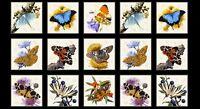 "Fabric Butterflies Moths on Cream Cotton by Elizabeth 23""x42"" Panel"
