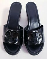 TORY BURCH Women's Black Patent Leather Platform Wedge Slide Sandals! Size 7.5 M