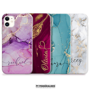 PERSONALISED PHONE CASE INITIALS NAME MARBLE HARD COVER FOR IPHONE 12 7 8 11 XS
