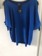 Lovely Blue And Black Top from Shop In Italy.  One Size BNWT