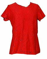 Marc New York Women's Lined Textured Blouse Lace in Tango Red - Choose Size NWT