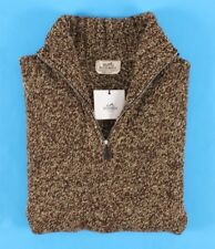 $2250 NWT - HERMES 100% CASHMERE Chunky 1/2 Zip Sweater - Brown - 2XL