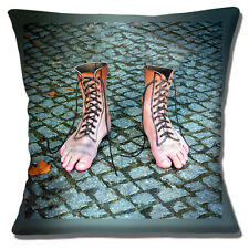 """NEW NOVELTY KITSCH RETRO SURREAL MAN FEET LACE UP BOOTS 16"""" Pillow Cushion Cover"""