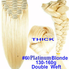 US Extra Thick Remy 100% Human Hair Extensions Clip In Full Head Double Weft CL2