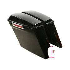 "Vivid Black 5"" Stretched Hard Saddle Bags W/ Key For Harley Touring Models 14-18"