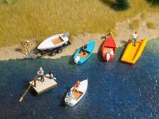 Busch 1157 barche Set Legno zattera motoscafo gommone barca rimorchio h0 1:87 NUOVO