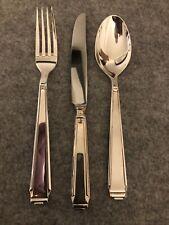 Robbe & Berking Art Deco Menu Dinner Fork Knife & Spoon Silver 150