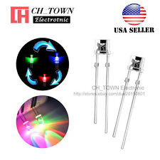 100pcs 3mm Flat Top Water Clear Fast Rainbow Flash RGB flashing LED Diodes USA
