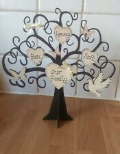 Personalised freestanding wooden family tree keepsake shabby chic gift 6 names
