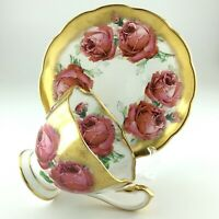 Queen Anne Large Red Cabbage Leafed Scalloped Edge Gold Trim Teacup Saucer L062