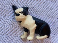 Vintage Cast Iron French Bulldog Boston Terrier Dog Door Stop Black White Puppy
