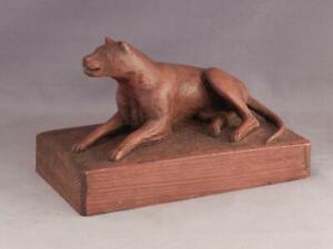 Antique c1920 Folk Art Primitive Wood Carving of Dog~Attrib to Samuel Thatcher~