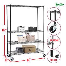 """82""""x46""""x18"""" Heavy Duty 4 Tier Shelving Rack Steel Wire Metal Shelf Adjustable"""