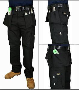 Mens Work Trousers Heavy Duty TRIPLE STITCH Multi Pocket Cargo Combat Work Pants