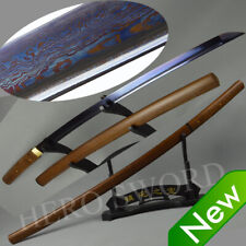 Blue Blade Damascus Folded Steel Katana Rose wood Shirasaya Japan Samurai Sword
