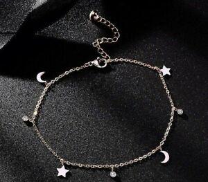"18K Rose Gold Over 2.Ct Diamond Moon Star Chain 9.5"" Anklet Gift For Girlfriend"
