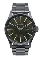**BRAND NEW** NIXON WATCH THE SENTRY SS GUNMETAL / GREEN OXYDE A3562069 NIB!
