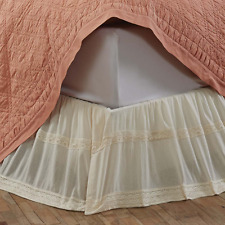 Shabby Chic Cream Bed Valance Skirt Queen Cotton Crepe + Lace New