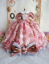 12'' Blythe Coffee and pink Dress Azone Dress BJD Dress Pullip Dress Doll Outfit