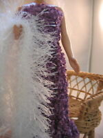Hand Knit Purple Dress Formal with Boa Doll Clothes fits 11.5 fashion as Barbie
