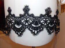 12cm black embroidered venise lace bridal wedding dress prom trim veil net